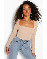 Boohoo Petite Long Sleeve Square Neck One Piece - Natural
