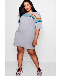 Boohoo - Rainbow Print T-shirt Dress - Lyst
