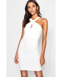 Boohoo Tall Twist Front Bandeau Mini Dress - White