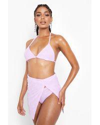 Boohoo Towelling Embossed High Split Beach Skirt - Purple