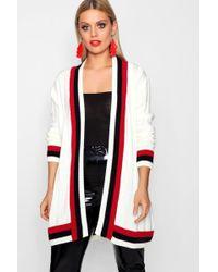 Boohoo - Plus Contrast Stripe Chunky Cardigan - Lyst