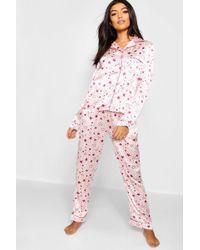 Lyst - Boohoo Ava Dear Santa Satin Button Down Night Shirt in Pink 8d405868a