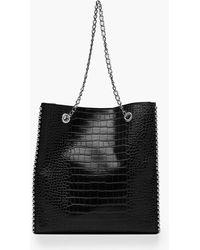 Boohoo Premium Croc Pu & Metal Bead Tote Bag - Black