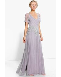 Boohoo Womens Boutique Beaded Cap Sleeve Maxi Bridesmaid Dress - Gray
