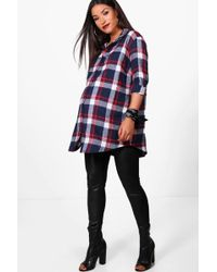 b49fe99aefd10 Boohoo Maternity Check Oversized Shirt in Red - Lyst