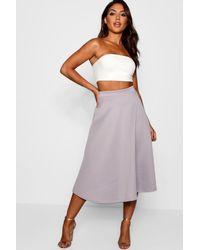 Boohoo Womens Basic Plain Full Circle Midi Skirt - Gray