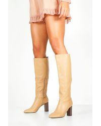 Boohoo Block Heel Knee High Boots - Natural