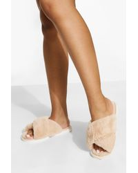 Boohoo Fluffy Cross Front Slippers - White