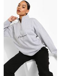 Boohoo Woman Script Half Zip Sweatshirt - Grey