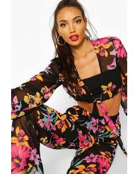 Boohoo Womens Neon Floral Tie Front & Wide Leg Pants Two-piece - Black