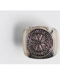 Boohoo Emboss Compass Signer Ring - Metallic