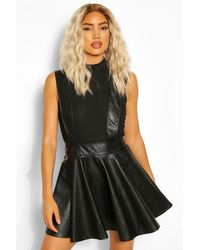 Boohoo Leather Look Pinafore Skater Skirt - Black