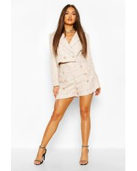Boohoo Boucle Gold Button Tailored Shorts - Pink