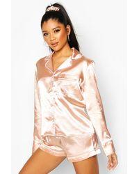 Boohoo L Initial Satin 4Pc Pyjama Set - Rose