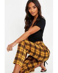 Boohoo Petite Flanneled Plaid Pants - Yellow