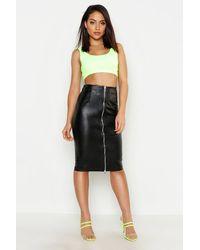 Boohoo Womens Pu Leather Look Zip Front Midi Skirt - Black