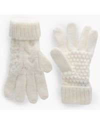 Boohoo Amelia Knitted Cable Glove - White