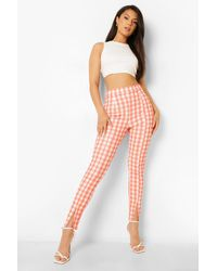 Boohoo Gingham Split Hem Skinny Pants - Orange