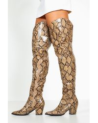 Boohoo Womens Thigh High Snake Western Boots - Brown - 5