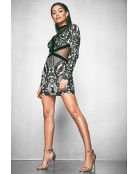 Boohoo - Premium Low Back Sequin Barely There Dress - Lyst