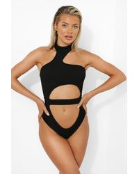 Boohoo High Neck Cut Out Textured Rib Bathing Suit - Black