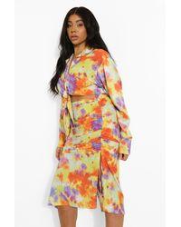 Boohoo Plus Tie Dye Ruched Midi Skirt - Giallo