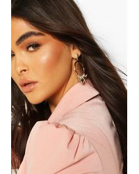 Boohoo Heart & Star Charm Detail Hoop Earrings - Multicolour
