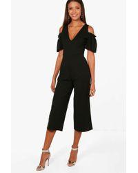 5f143f83c3e Boohoo Petite Off The Shoulder Culotte Jumpsuit in Black - Lyst