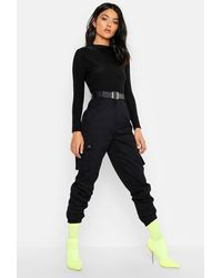 Boohoo Woven Pocket Cargo Pants - Black