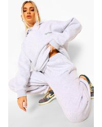 Boohoo Oversized Ofcl Studio Embroidered Tracksuit - Grey