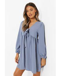 Boohoo Tie Front Smock Dress - Blue