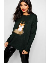 Boohoo - Fox Applique Jumper With Faux Fur And Sequin - Lyst