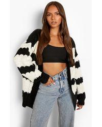 Boohoo Chunky Knit Oversized Cardigan - Black