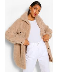 Boohoo Oversized Belted Teddy Faux Fur Shacket - Natural