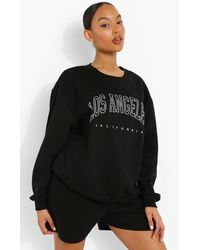 "Boohoo Womens Sweatshirt Mit ""Los Angeles""-Slogan - Schwarz"