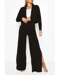Boohoo Crop Blazer And Split Wide Leg Trousers Suit Set - White