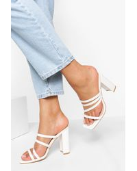 Boohoo Multi Strap Croc Block Heel Mule - White