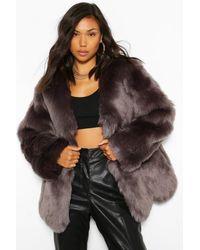 Boohoo Luxe Paneled Faux Fur Coat - Multicolor