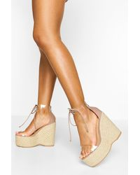 Boohoo Clear Lace Up Espadrille Wedges - Natural