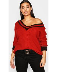 Boohoo Plus Contrast Oversized Cable Knit Jumper - Red