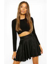 Boohoo Woven Full Hem Wrap Skater Skirt - Black