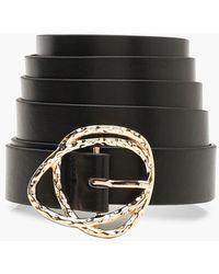 Boohoo Plus Gold Buckle Boyfriend Belt - Black