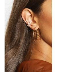 Boohoo Pearl And Diamante Ear Cuff Pack - Brown