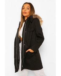 Boohoo - Petite Faux Fur Hooded Parka - Lyst
