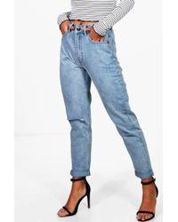 Boohoo - Light Wash Rip High Waist Mom Jeans - Lyst