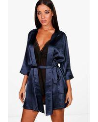 Boohoo - Satin Kimono Robe - Lyst
