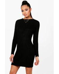0f55c04851a7 Boohoo Button Front Rib Knit Dress in Black - Lyst