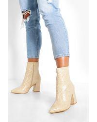Boohoo Wide Width Croc Block Heel Sock Boots - Natural