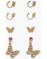 Boohoo Butterfly Diamante Drop, Stud And Cuff Pack - Multicolour