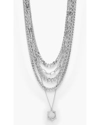 Boohoo Womens 5 Layer Chunky Chain And Coin Necklace - Grau
